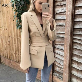 Casual Women Spring Khaki Coat New Official Ladies Blazer Pocket Streetwear Outfits Slim Women Basic Jacket With Belt